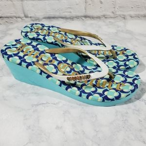 Juicy Couture 10 Blue Wedge Geometric Sandals